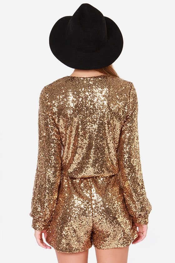 c1c20e6a4498 Gold Romper - Sequin Romper - Long Sleeve Romper -  70.00 wedding attendee