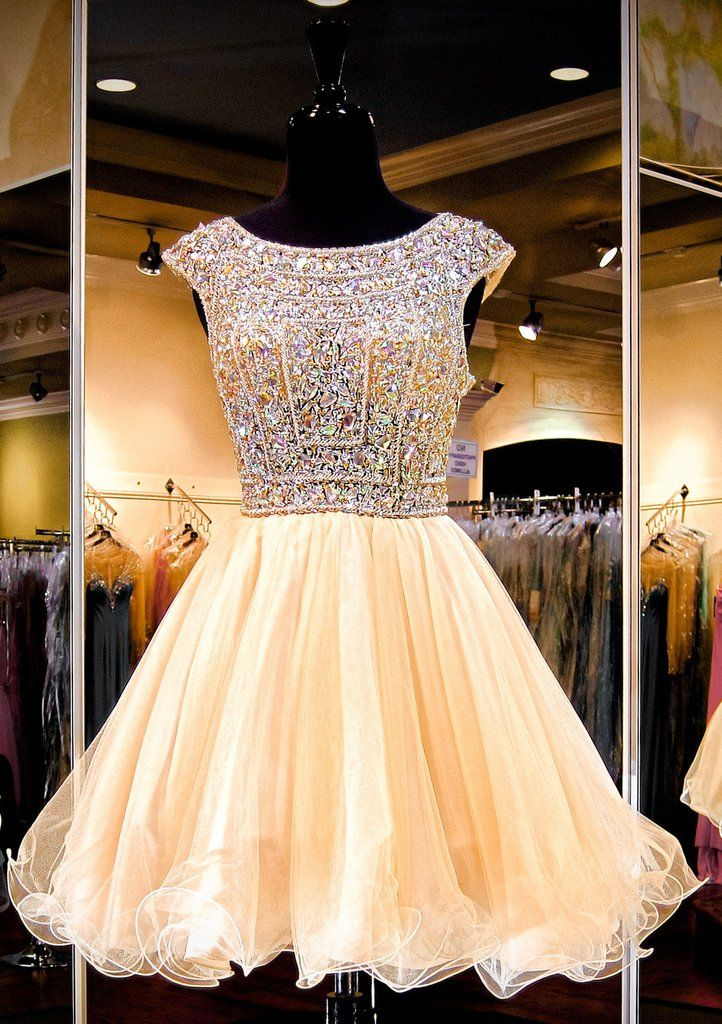 A Line Sparkly Beaded Bodice Tulle Backless Homecoming Dresses Apd1587