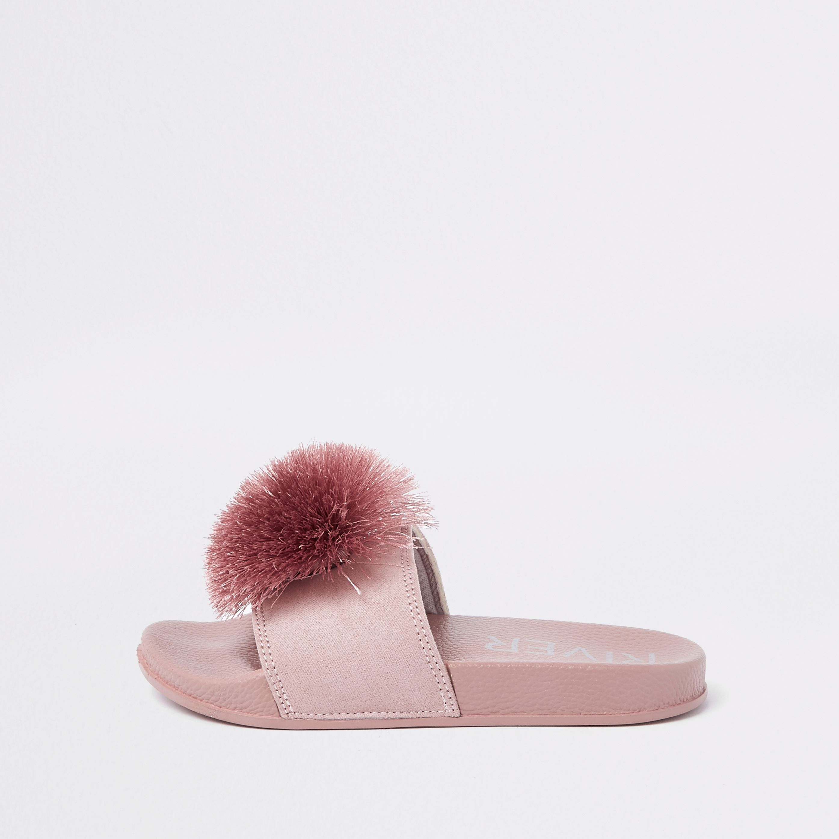 Girls pink pom pom sliders   Girls