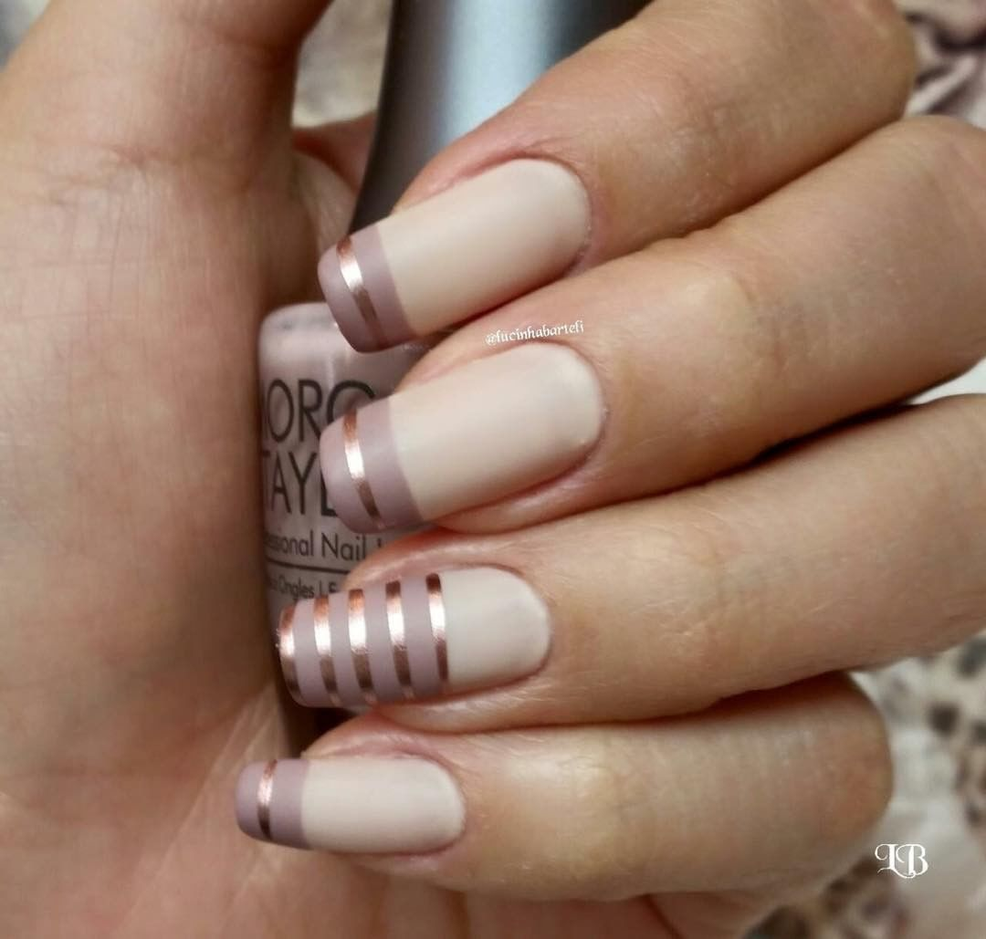beige & taupe-y nude (towards tips) nails w/ rose gold striping tape | easy striped manicure / nailart
