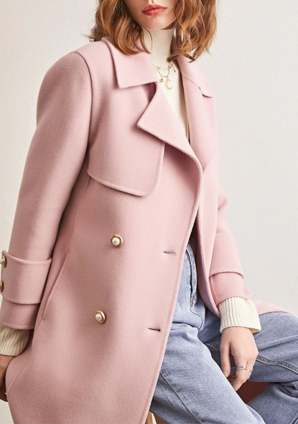 Click Or Tap On The Photo To Shop This Beautiful Pink Wool Coat New Light Pink Double Breasted Warm Coat Outfit Casual Pink Wool Coat Wool Skirt Outfit Winter [ 1422 x 1000 Pixel ]