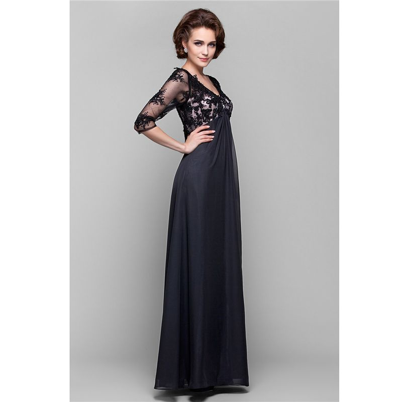 bbd0356788b LAN TING BRIDE A-Line V Neck Floor Length Chiffon Sheer Lace Mother of the
