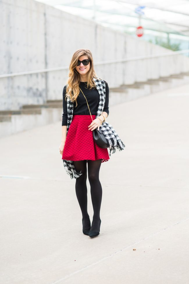 2ca1bd85d43e Valentines Day Outfit Idea  Winterize your favorite skater or swing skirt  with a pair of black tights