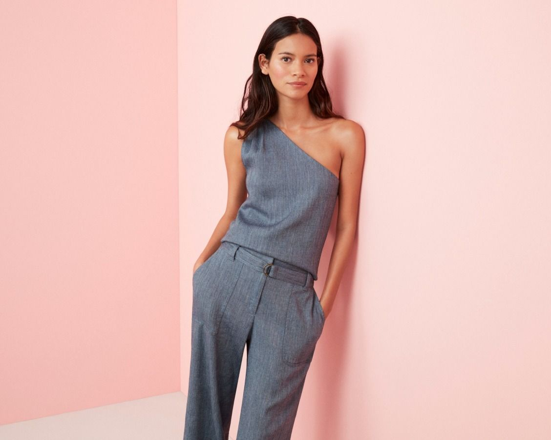 54 50 Fresh Chambray In An Off The Shoulder Style Fashion One Shoulder Tops Style