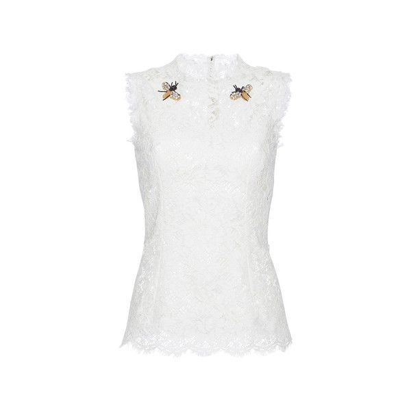 Dolce & Gabbana     Bee Brooch Lace Top (3.085 BRL) ❤ liked on Polyvore featuring tops, dolce & gabbana, white lace top, dolce gabbana top, white top, lace top and lacy tops