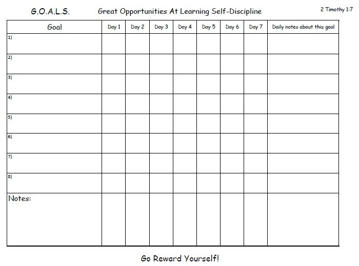 A Weekly Goal Chart To Help You Get Into The Habit And Help