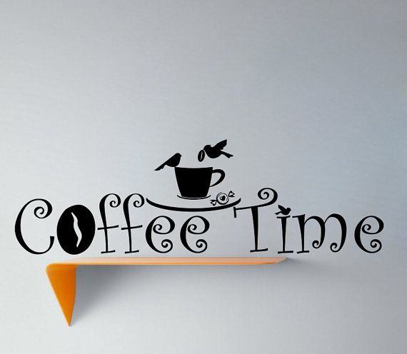 Wall vinyl decal sticker coffee time with birds by vinyldecals2u