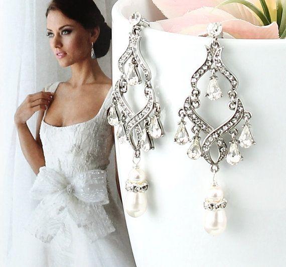 Bridal Earrings Glamorous Wedding Bridal by goddessdesignsgems ...