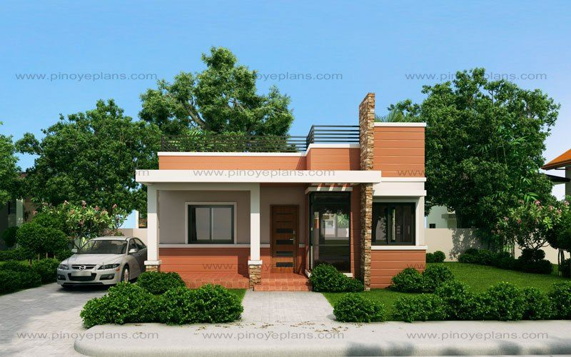 Rommell One Storey Modern With Roof Deck Pinoy Eplans One Storey House Small House Exteriors House Roof Design