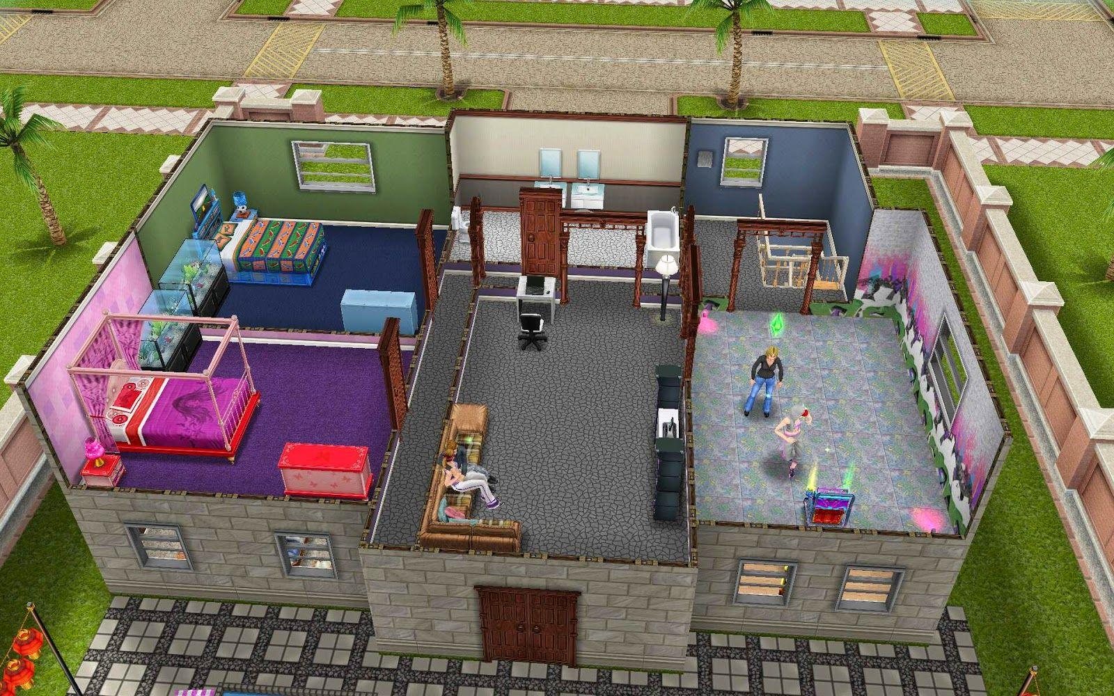 Sims Freeplay Housing: Dance Villa Upstairs View