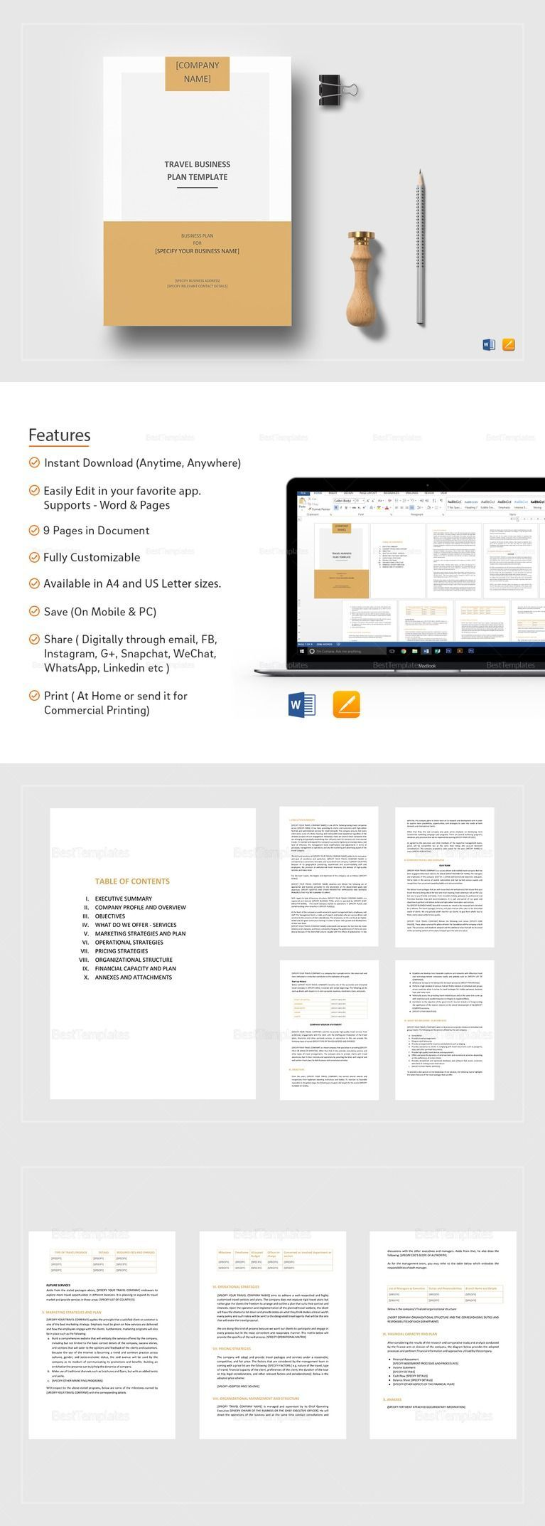 Pin On Business Plan Templates Printable Professional Ms word business plan template