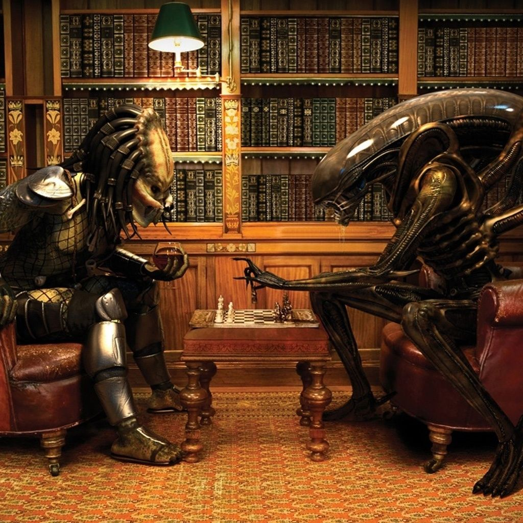 Alien and Predator Playing Chess #iPad #wallpaper | iPad Wallpapers ...