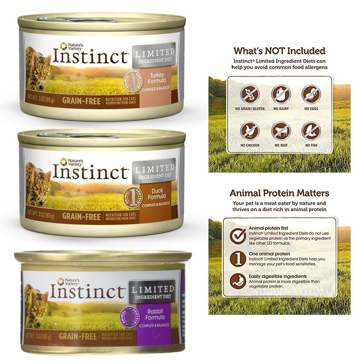 Nature S Variety Instinct Limited Ingredient Diet Canned Cat Food Variety 3 Flavors Duck Rabbit Turkey 3 Ounce Canned Cat Food Food Grain Free Cat Food