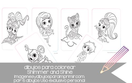 Dibujos Para Imprimir Y Colorear De Shimmer And Shine Colorea A Todos Sus Personajes Color Cards Playing Cards