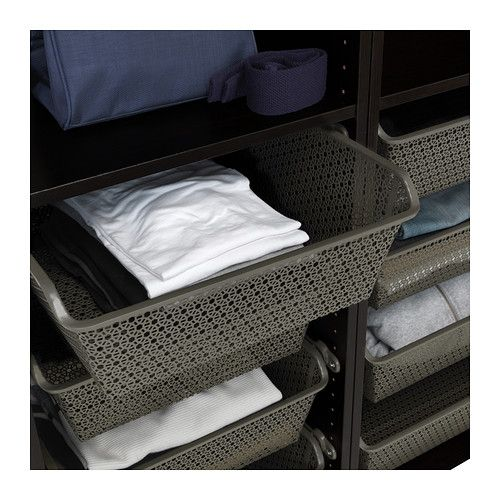IKEA KOMPLEMENT Dark Gray Metal basket with pull-out rail