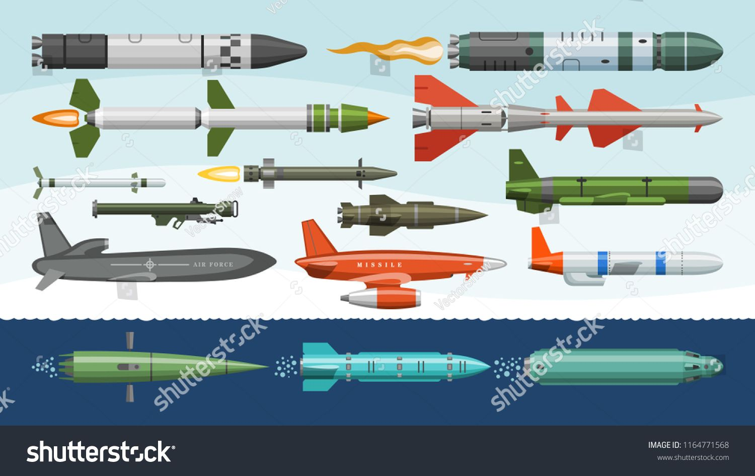 Missile vector military missilery rocket weapon and ballistic nuclear bomb illustration militarily set of rocketpropelled warhead isolated on background