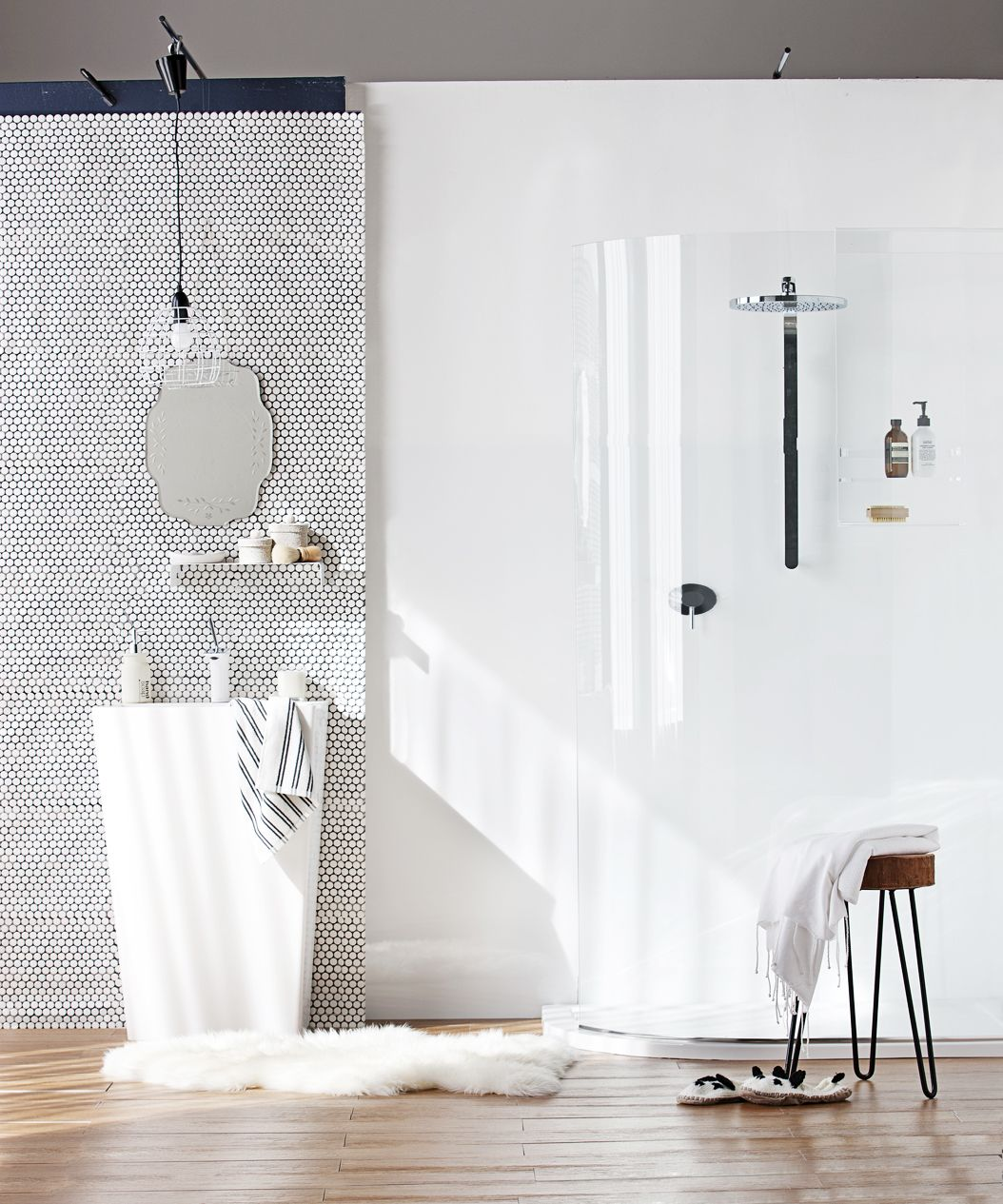 Cool white luxe bathroom.