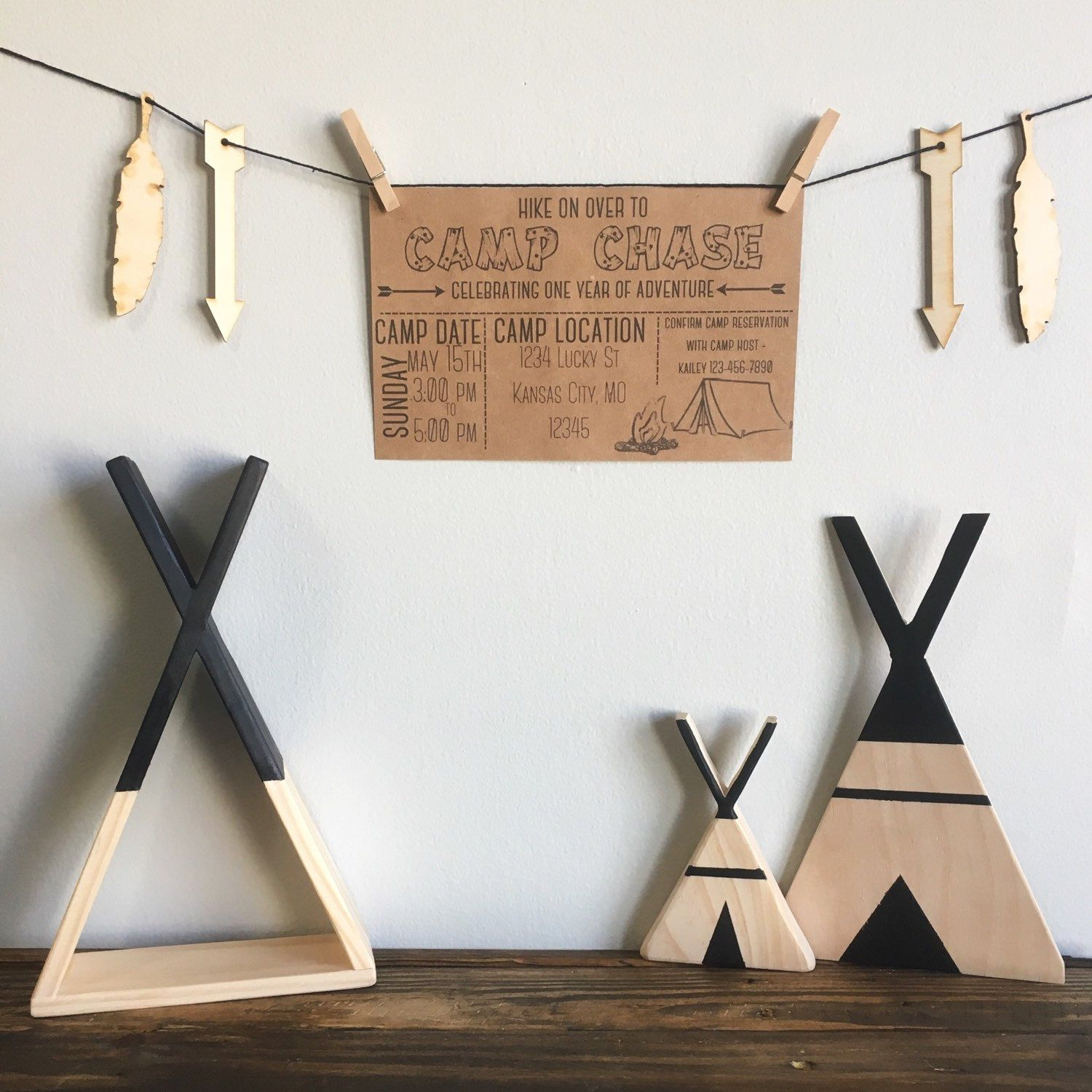 Perfect little goodies to go along with your camp out themed birthday party!  Check out these shops on Instagram! Invitation: @chasingprints Wooden teepees: @jaggerleesteepees Wooden arrows/feathers garland: @thatspecialtouch_homedecor