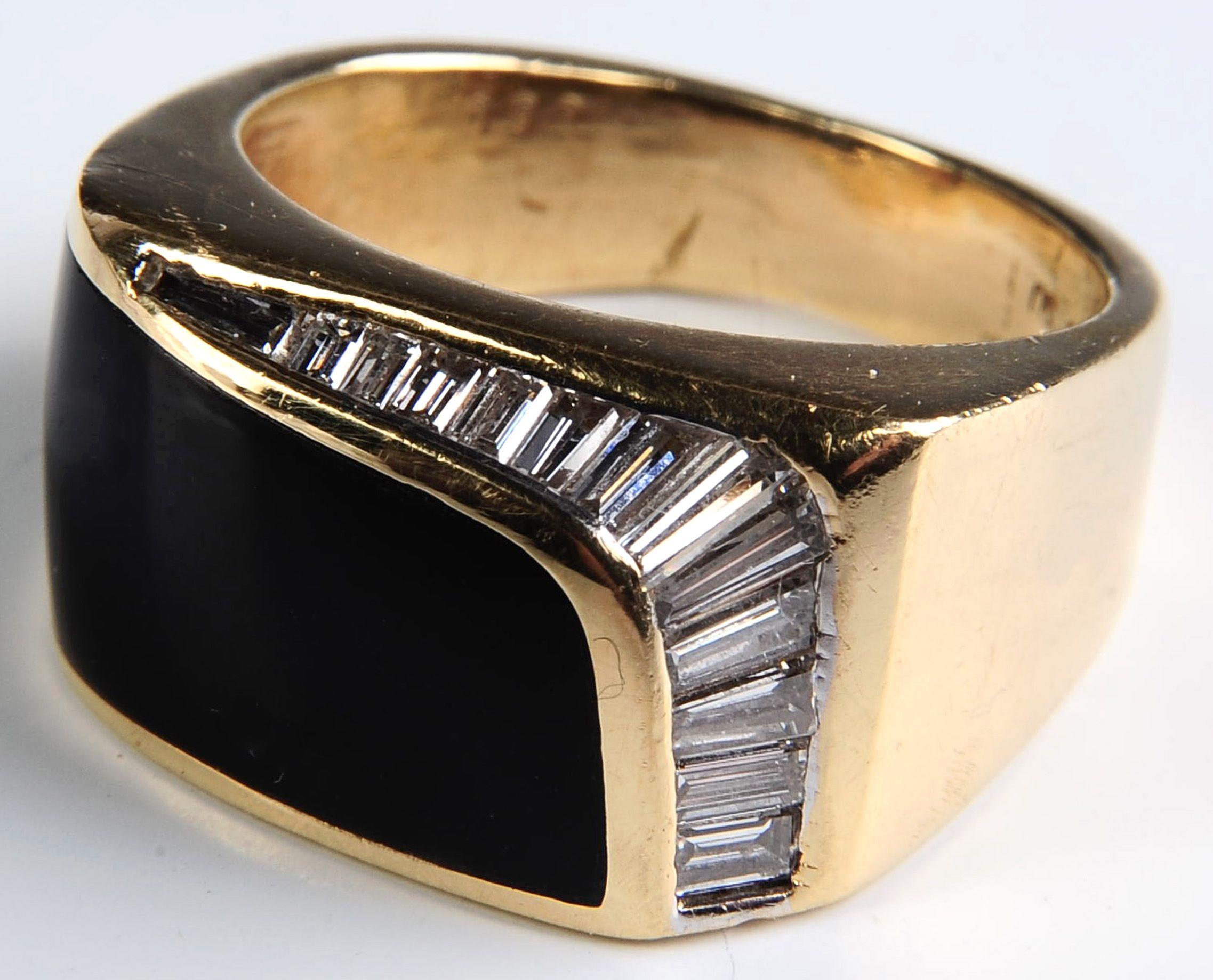 a gentu0027s 18k gold onyx and baguette diamond ring a sleek gentu0027s ring with
