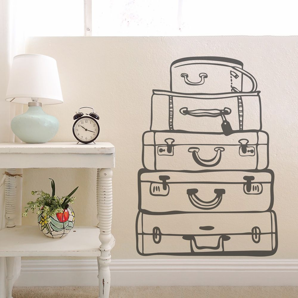 Add Vintage Flare To Your Room With This Travel Bags Wall Art Decal