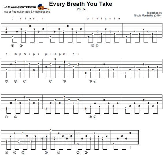 Every Breath You Take Guitar Chords Tablature Guitar Pinterest