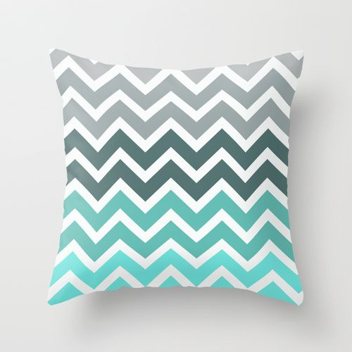 Cuscini Color Tiffany.Tiffany Fade Chevron Pattern Throw Pillow Cojines Para Sala