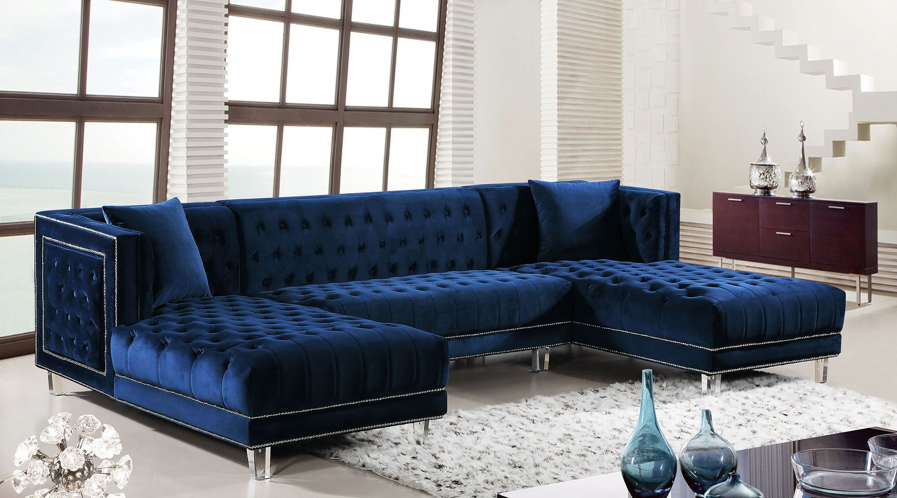 Moda Blue Sectional Sofa 631 Suzanne Meridian Furniture Sectional Sofas In 2021 Blue Sofas Living Room Blue Couch Living Room Blue Living Room