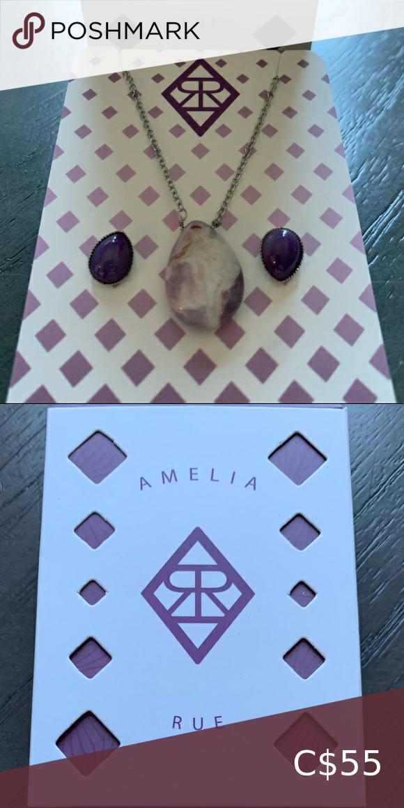 🟣Amethyst necklace & earrings / Kit bijoux