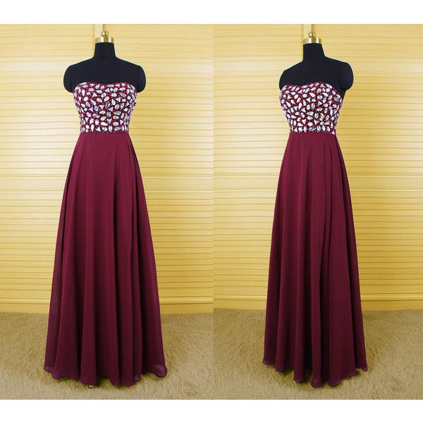 DressPerfect Burgundy Long Chiffon Prom Dress With Full Beaded Top (215 NZD) ❤ liked on Polyvore featuring dresses, dark olive, women's clothing, beaded dress, purple dress, chiffon dress, mini dress et beaded cocktail dress