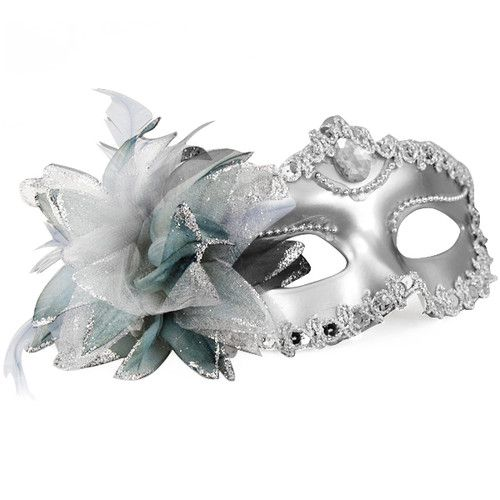 Black and Pearlised White Swan Lake Design Glitter Masquerade Mask