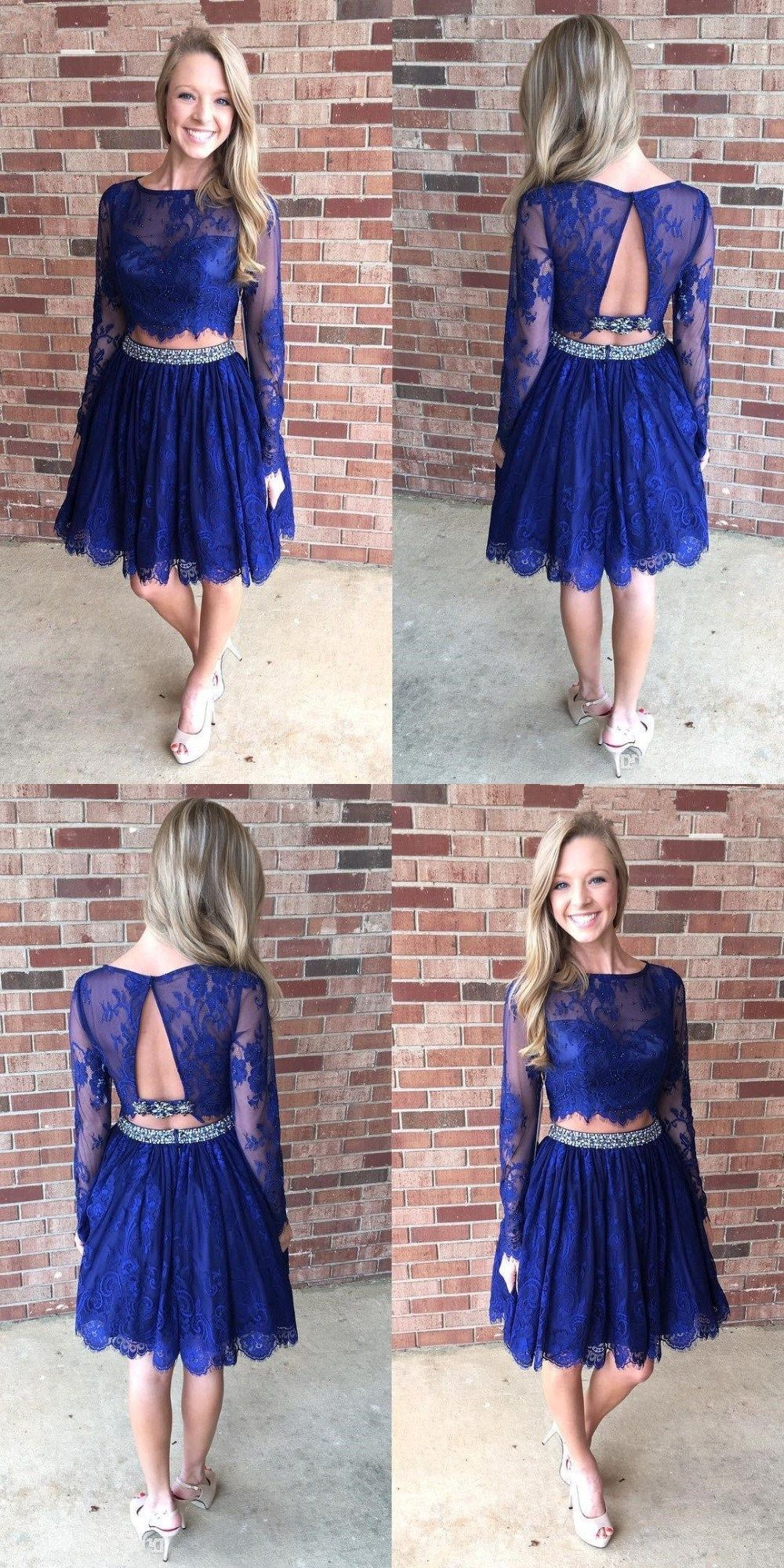 Two piece homecoming dresses aline long sleeve short prom dress lace
