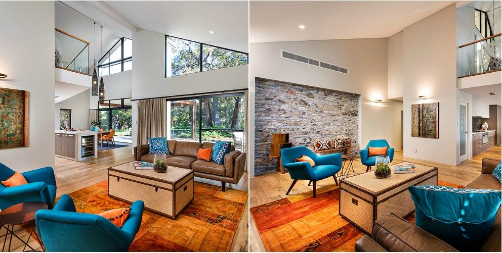 Blue And Orange Living Rooms Google Search
