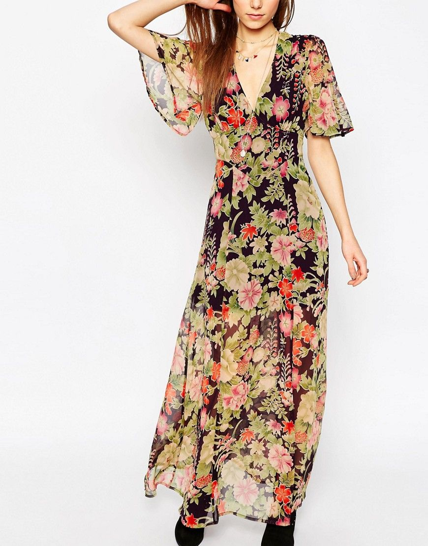 309fb31616c Flutter Sleeve Maxi Dress in Floral Print | clothes | Maxi dress ...