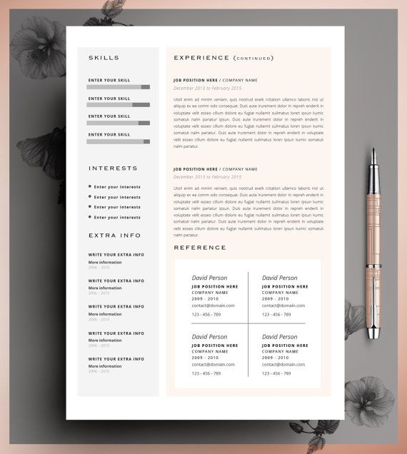 Creative Resume Template CV Template Instant by CvDesignCo on Etsy - resume template for it