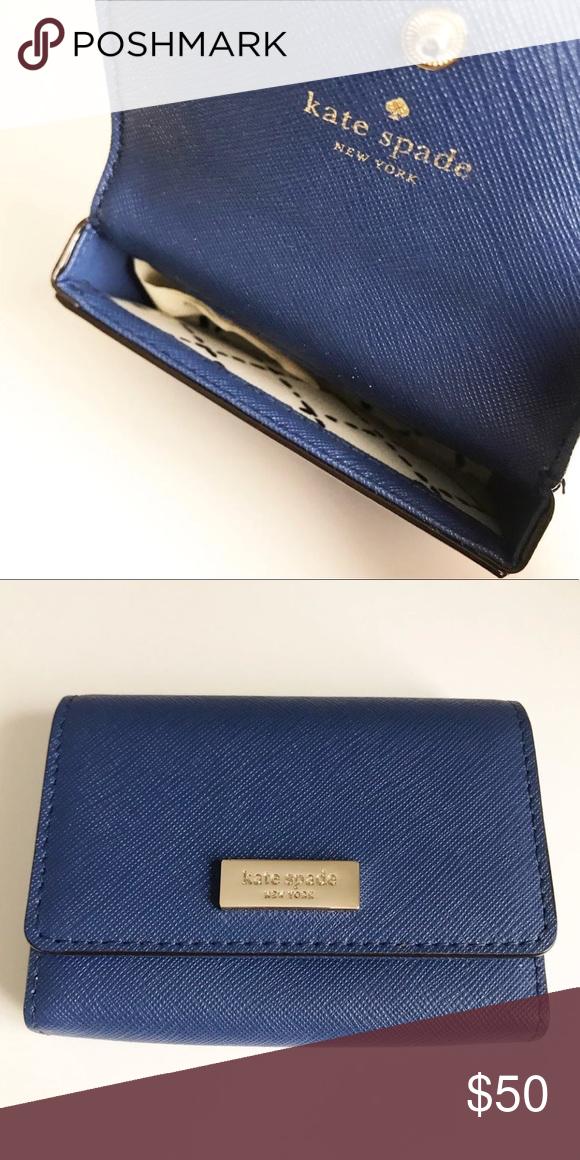 Kate Spade Blue Card Holder Case Leather Business Cards Card Holder Case Kate Spade