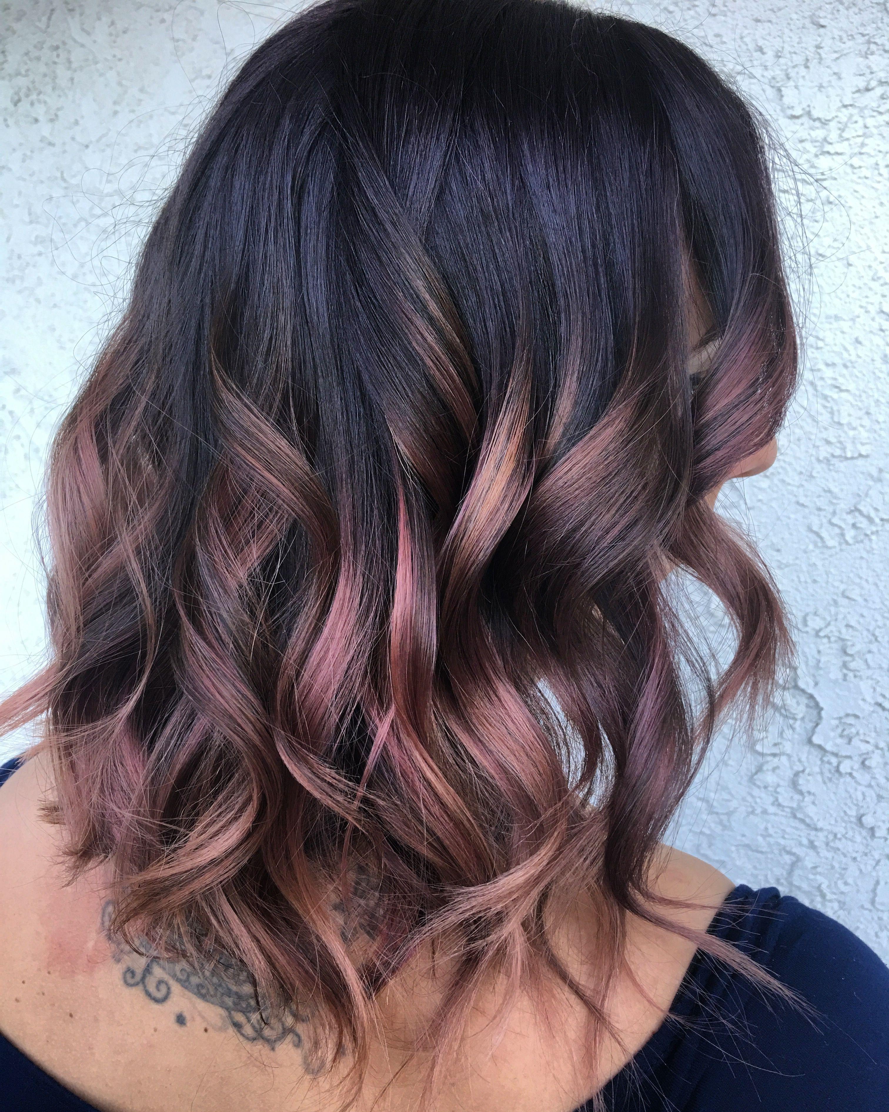 Burgundy Rose Gold Balayage Ombre Hair Hair Color Rose Gold Hair Color For Black Hair Burgundy Hair