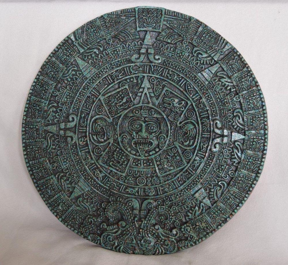 Aztec Mayan Calendar Malachite Composite Circle Very Heavy Wall Art Hanging & Aztec Mayan Calendar Malachite Composite Circle Very Heavy Wall Art ...