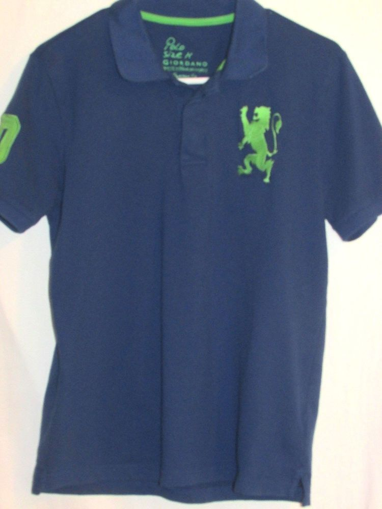 Giordano Polo Medium Tapered Fit Shirt Royal Blue Lime Green Lion Short  Sleeves
