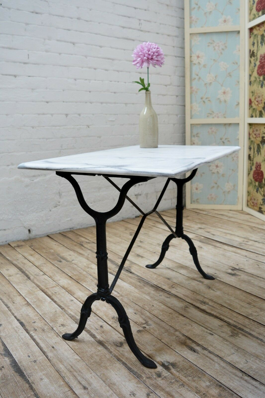 Details About French Vintage Cast Iron Marble Bistro Table