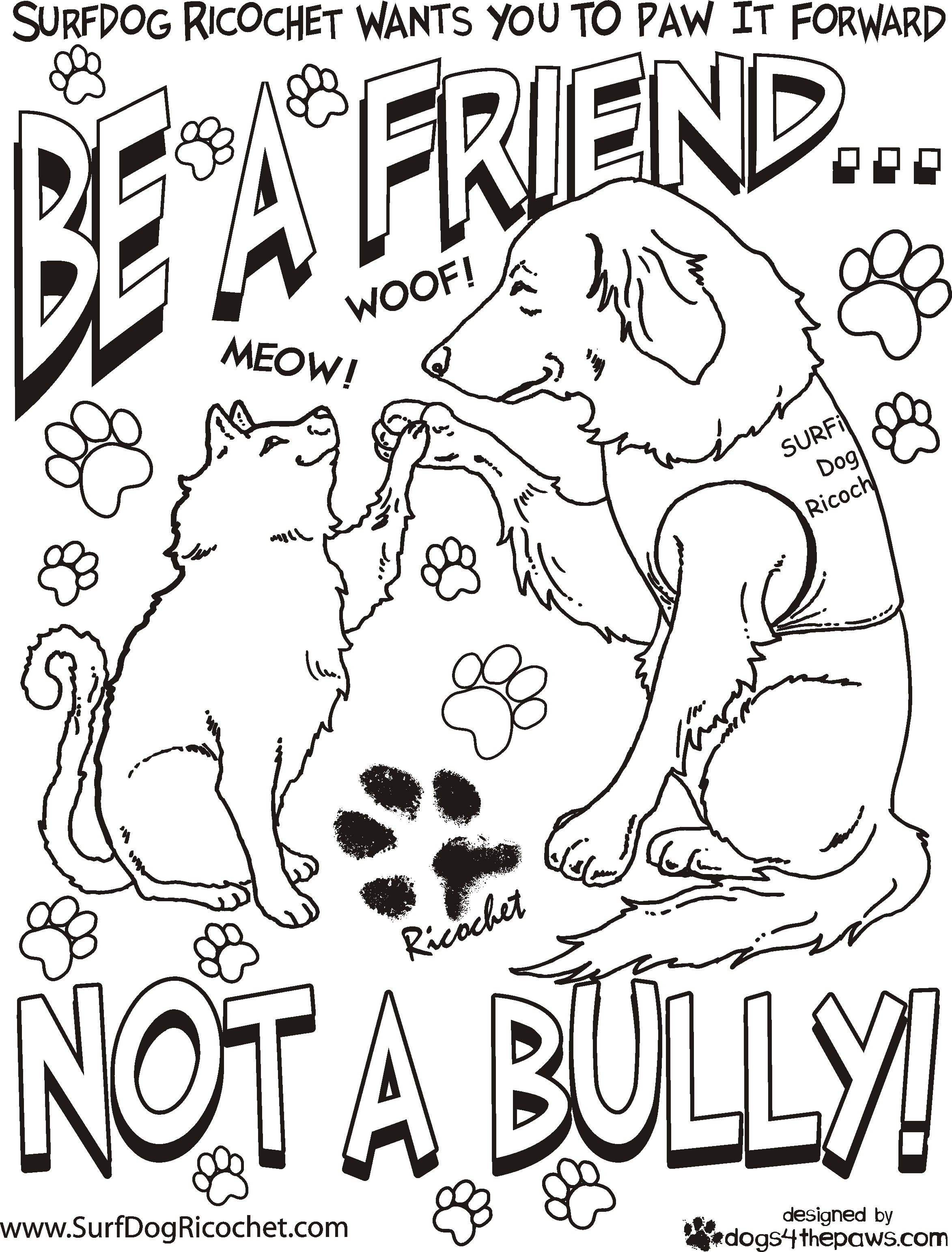 bullying coloring pages Coloring Sheet initiative for Surf Dog Ricochet | Surf Dog  bullying coloring pages