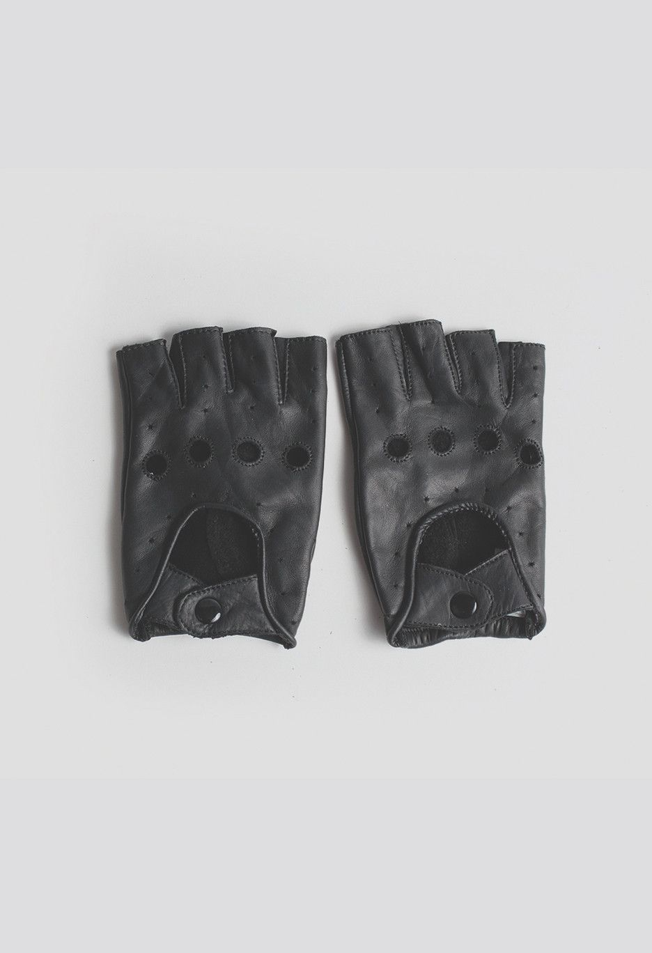 Black leather cut off gloves - Genuine Leather Cut Off Driving Gloves In Black