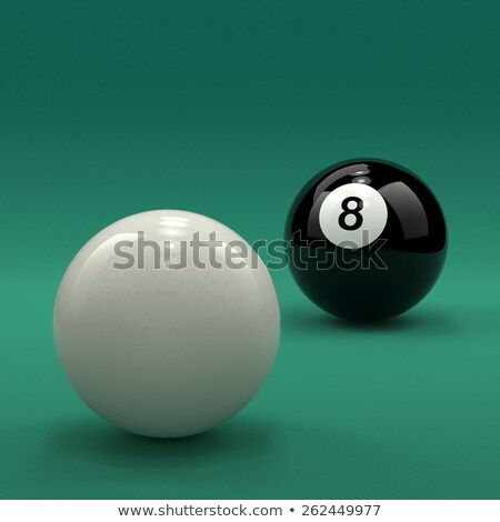 8 Billiard Ball And Cue Ball On Green Table Background