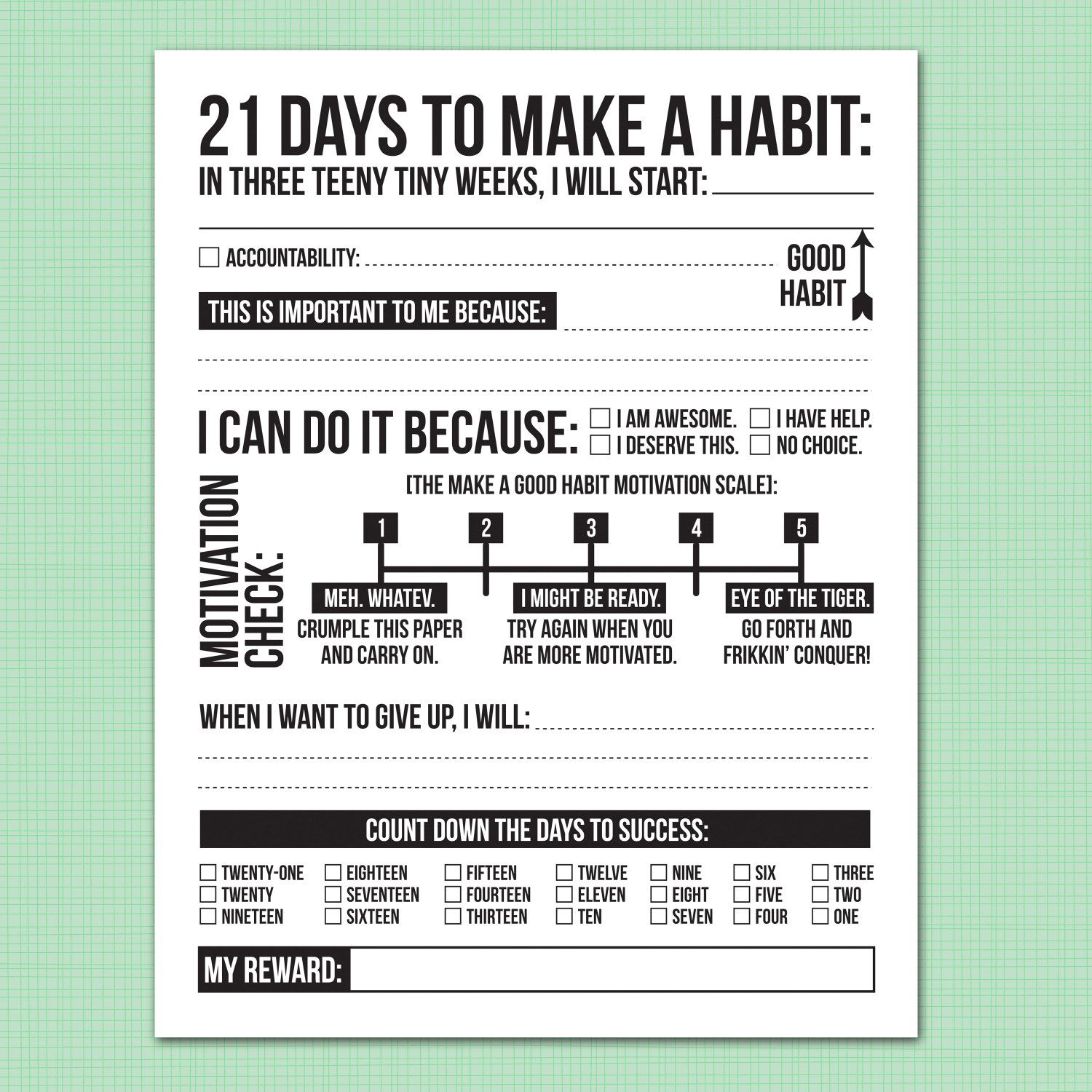 21 Days To Make A Good Habit Printable Sheet