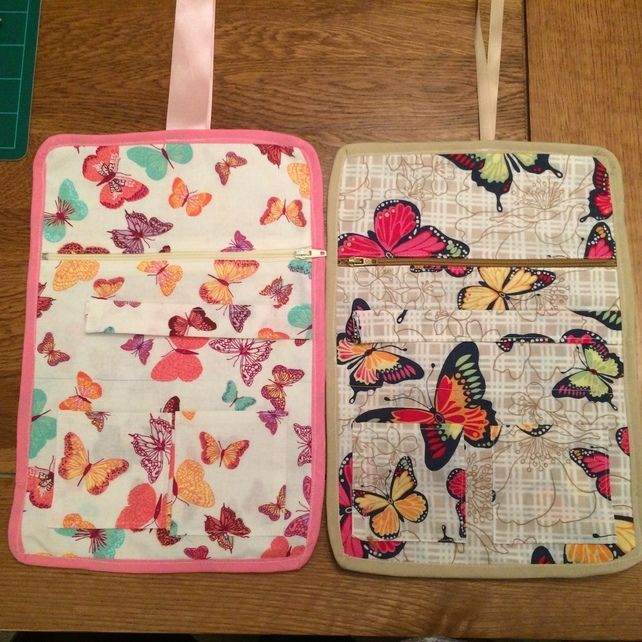 Butterfly Jewellery Travel Roll in cotton fabric with ribbon ties £8.95