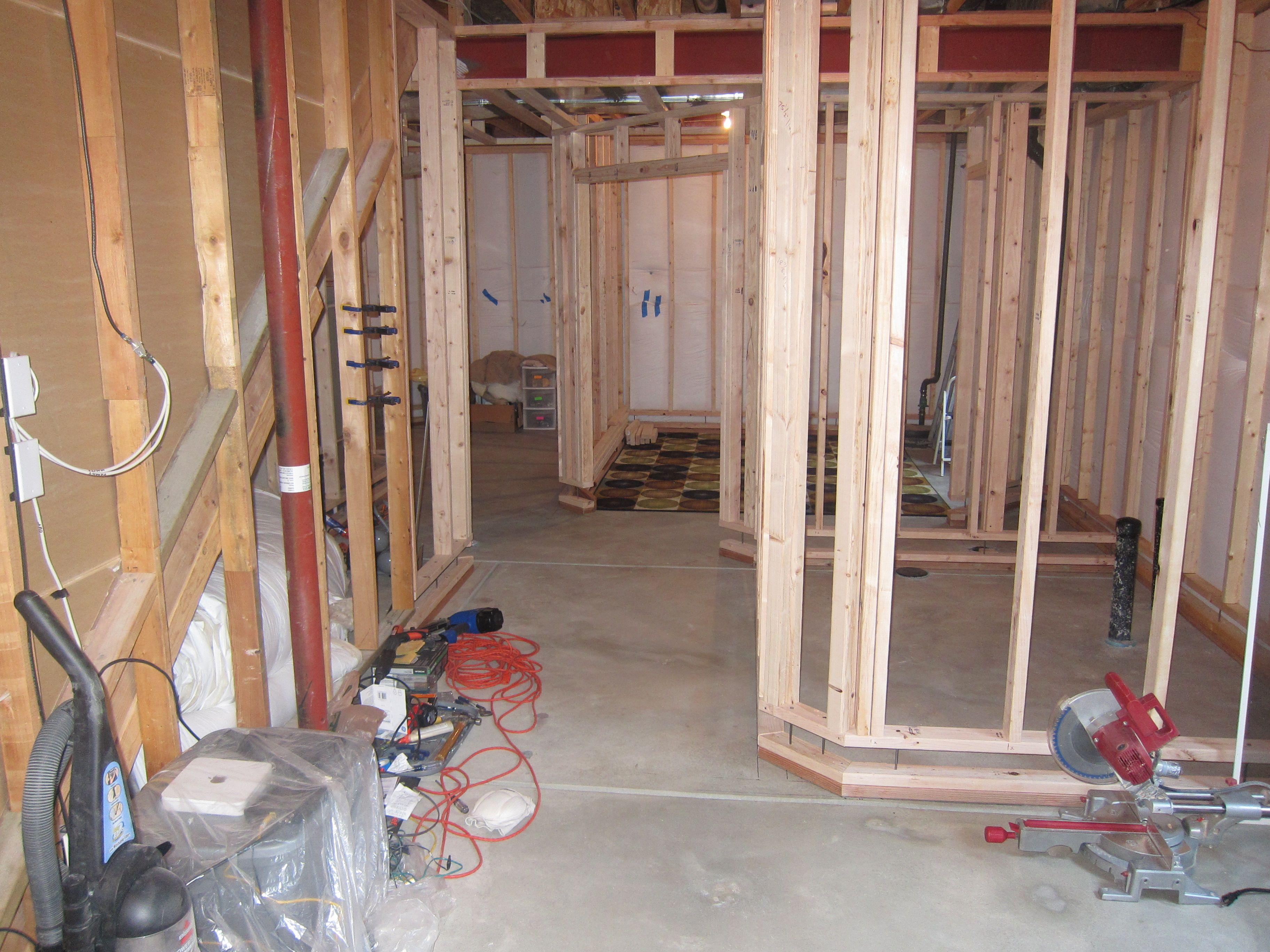 Basement Hallway Framing Stage Basement Walls Floating Wall Framing Basement Walls