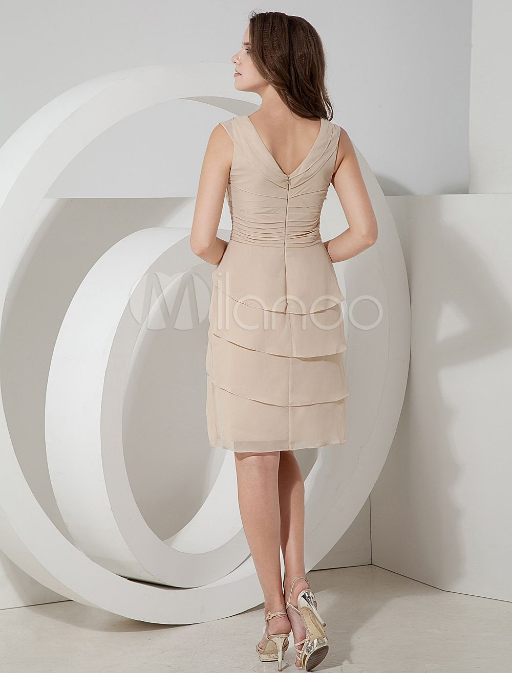c7159e8cf1f Tiered V-Neck Chiffon Cocktail Dress Wedding Guest Dress  Chiffon