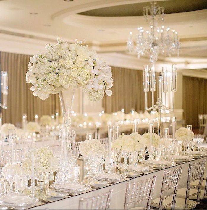 White Luxury Wedding Decor With Wonderful And Beautiful: Extravagant Wedding Floral Centerpieces