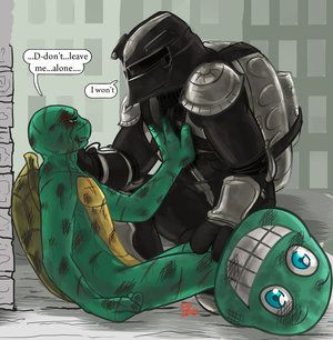 thats sad mikey got hurt and the nightwatcher / raph comes