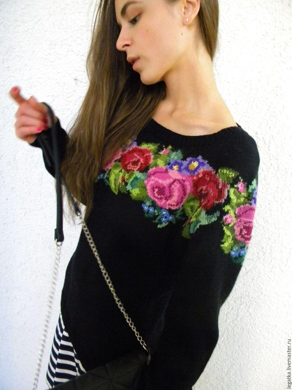 купить джемпер с вышивкойлюбимые розы свитер женский свитер