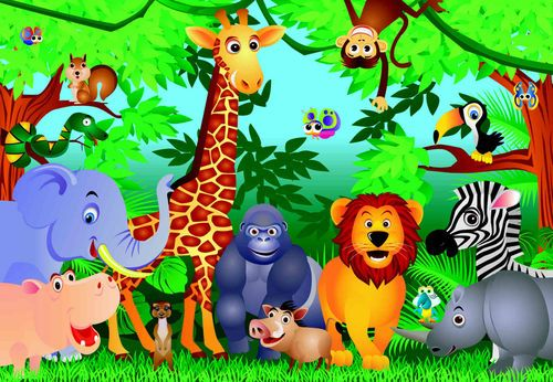 Kinder Fototapete Tiere Im Dschungel 366 X 254 Cm Kinderzimmer